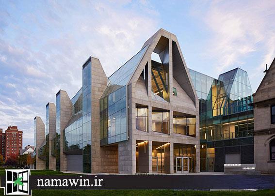 رقص شیشه و سنگ در نمای ساختمان
