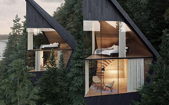 خانهدرختیهای مدرنی که به شکل منشور طراحی شدهاند
