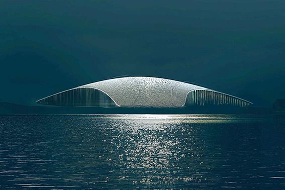 طراحی سازة الهام گرفته از نهنگ در کناره اقیانوس