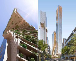 طراحی آسمانخراش با نمای چوب و شیشه و بافت سبز