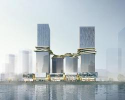 طراحی برجهای ترکیبی با پل ارتباطی عملکردگرا بین 4 ساختمان